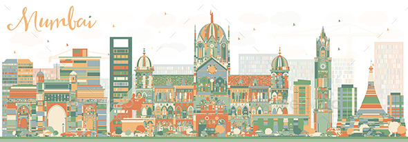 Abstract Mumbai Skyline with Color Landmarks - Buildings Objects