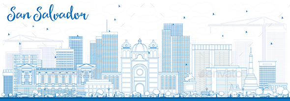 Outline San Salvador Skyline with Blue Buildings - Buildings Objects