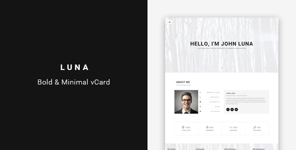 Luna - Bold & Minimal Personal vCard Template - Virtual Business Card Personal
