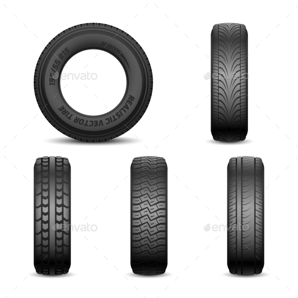 Realistic Vector Tires with Different Tread Marks - Man-made Objects Objects