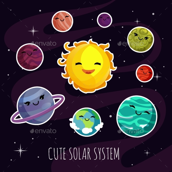 Cartoon Planets Stickers of Solar System - Miscellaneous Vectors