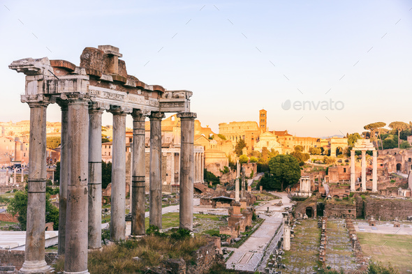 Temple of Saturn in Roman Forum - Rome - Stock Photo - Images