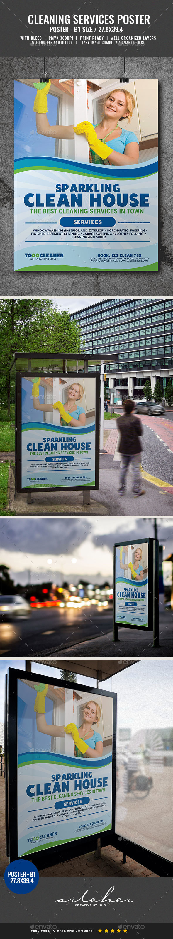 Cleaning Services Poster Template - Signage Print Templates
