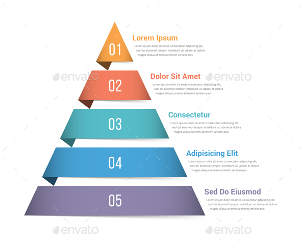 Pyramid Infographics with Five Elements - Infographics