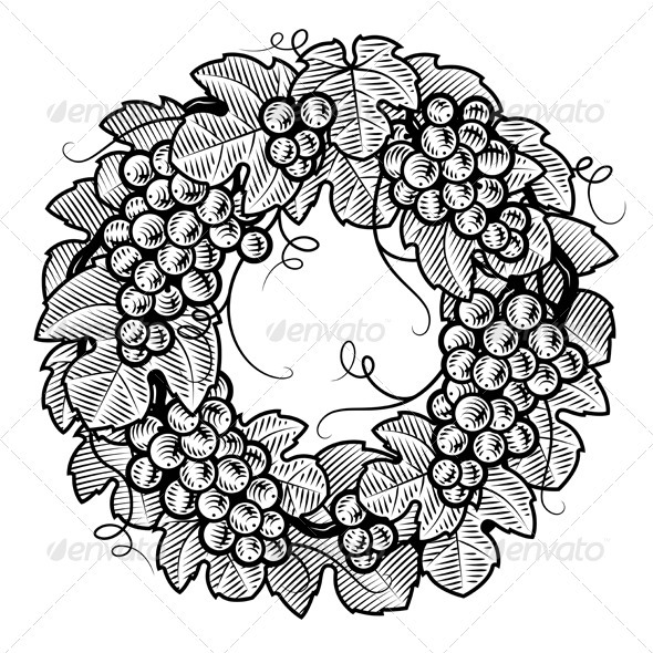 Retro Grapes Wreath Black And White - Food Objects