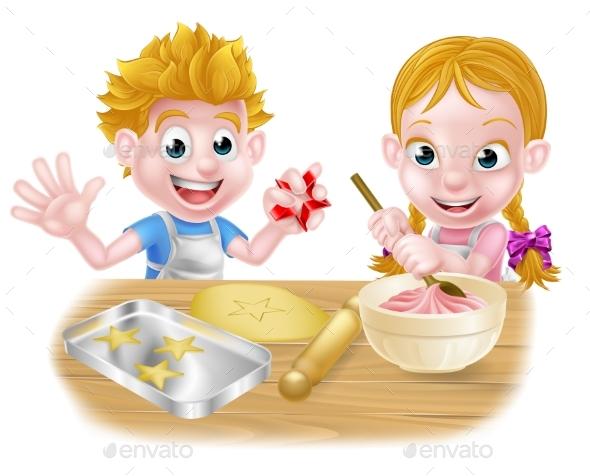 Cartoon Children Baking - Food Objects