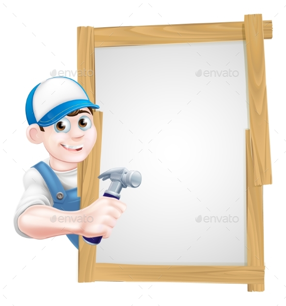 Carpenter Holding Hammer Sign - Miscellaneous Vectors