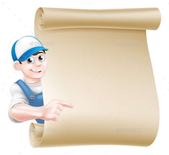 Pointing Plumber Scroll - Miscellaneous Vectors