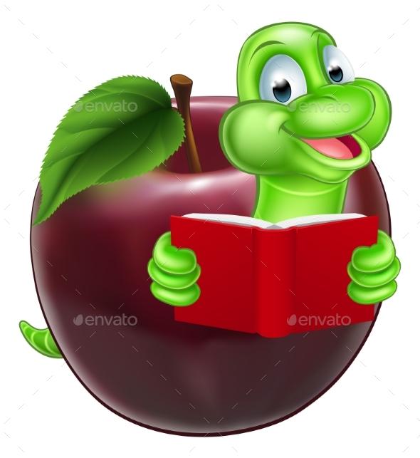 Cartoon Apple Bookworm - Miscellaneous Vectors