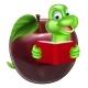 Cartoon Apple Bookworm