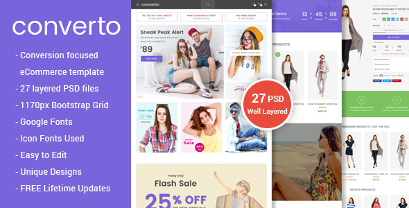 Converto – Conversion Focused eCommerce PSD Template