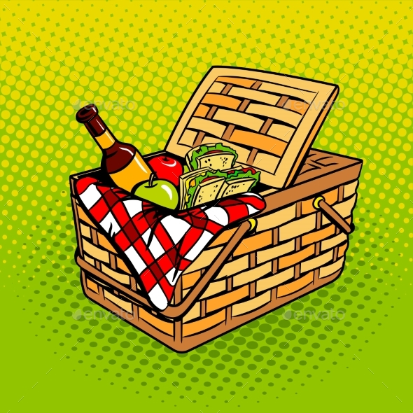Picnic Basket with Food Products Pop Art Vector - Objects Vectors