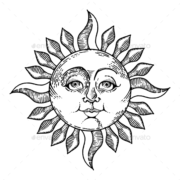 Sun with Face Engraving Style Vector Illustration - Miscellaneous Vectors