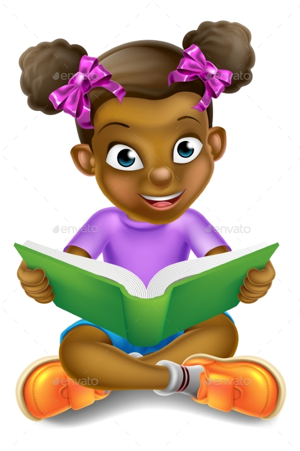 Cartoon Girl Reading Book - People Characters