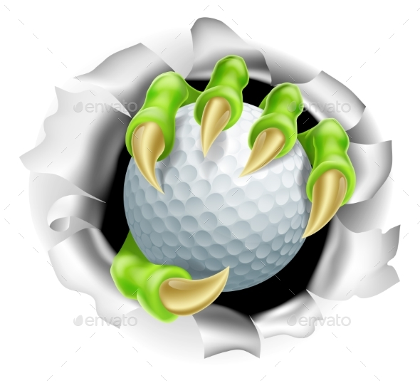 Claw with Golf Ball Breaking Out of Background - Animals Characters