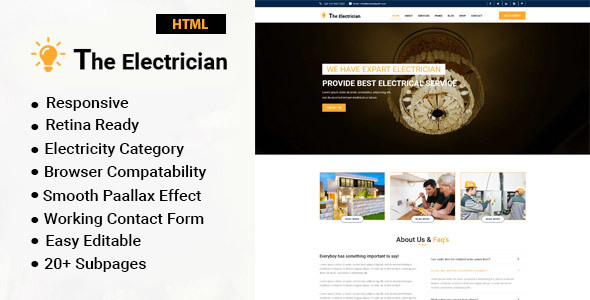 The Electrician : Electrician & Repairing HTML Template