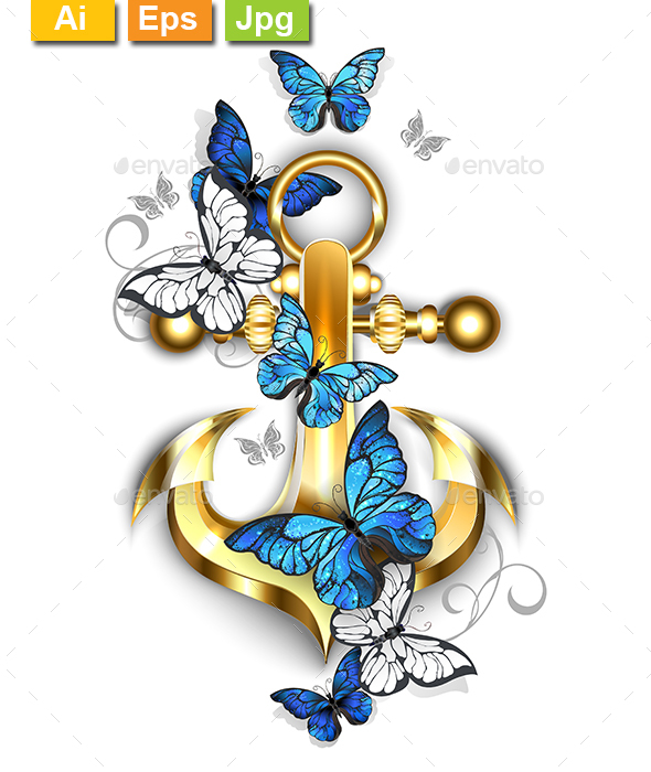 Anchor with Butterflies Morpho - Decorative Symbols Decorative