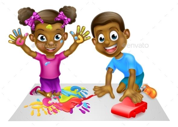 Cartoon Boy and Girl Playing with Toy Car - People Characters