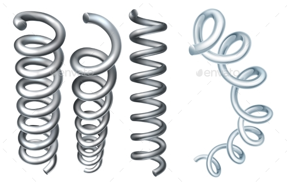 Steel Metal Spring Coil Design Elements - Man-made Objects Objects