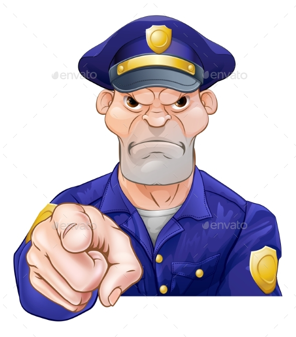 Angry Pointing Policeman - People Characters