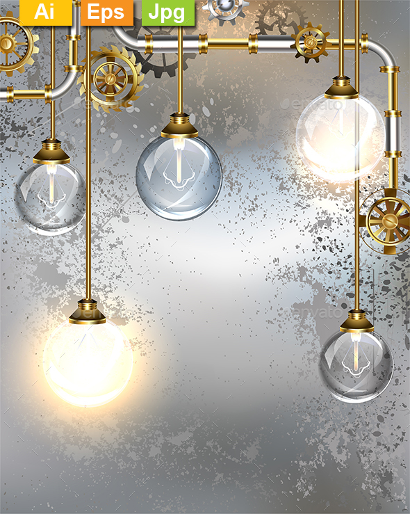 Round Industrial Light Bulbs - Backgrounds Decorative