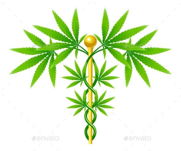 Medical Marijuana Plant Caduceus - Health/Medicine Conceptual