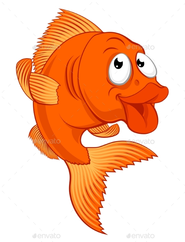 Cartoon Gold Fish or Gold Fish Character - Animals Characters