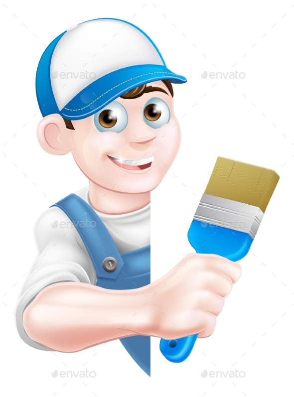 Cartoon Painter Decorator - Services Commercial / Shopping