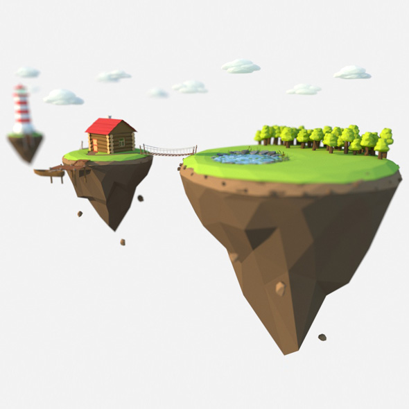 low poly island, lighthouse - 3DOcean Item for Sale