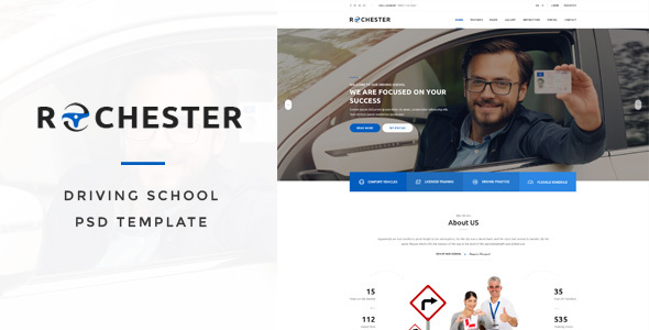 Rochester – Driving School PSD Template