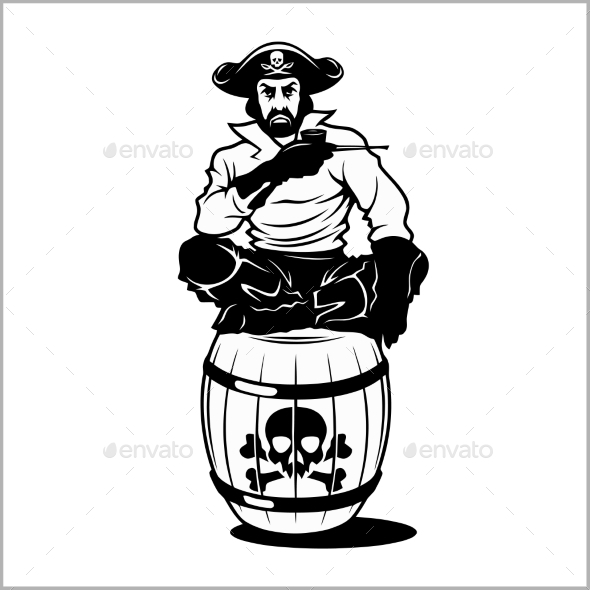 Pirate Sitting on a Barrel - People Characters