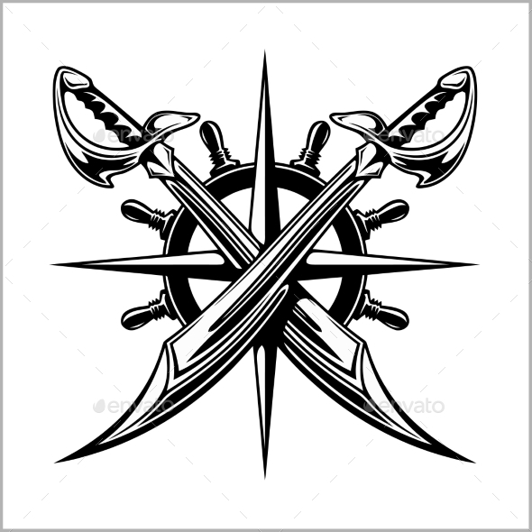 Pirates Emblem - Steering Wheel and Crossed Swords - Miscellaneous Vectors