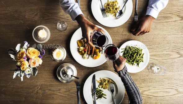 Couple Having Dinner Date at Restaurant - Stock Photo - Images