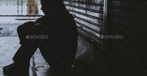 Homeless Woman Sitting on The Street Side Hopeless - Stock Photo - Images