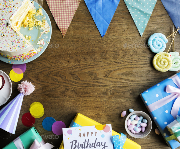 Birthday Celebration with Cake Presents Card Copy Space - Stock Photo - Images