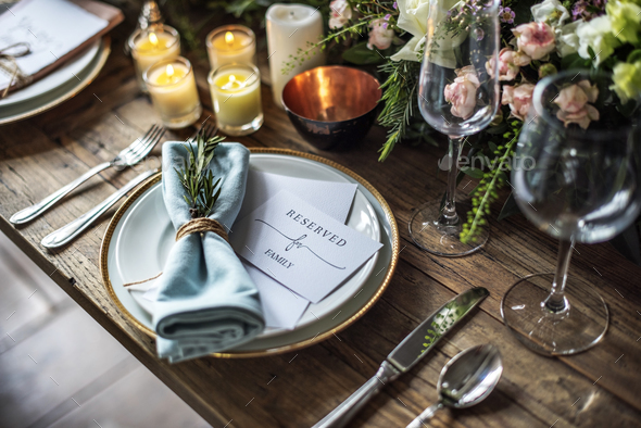Elegant Restaurant Table Setting Service For Reception With Rese   Stock  Photo   Images