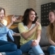 Three Best Female Friends Have Fun Sitting at Home - VideoHive Item for Sale