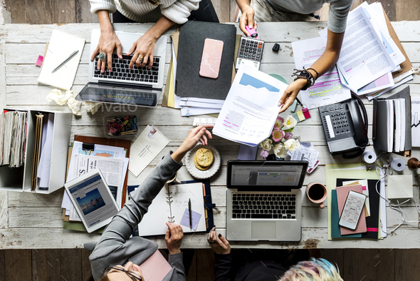 Business Colleagues Together Teamwork Working Office - Stock Photo - Images
