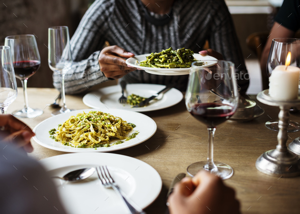 Friends Gathering Eating Food Together Happiness - Stock Photo - Images