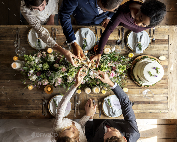 People Cling Wine Glasses on Wedding Reception with Bride and Gr - Stock Photo - Images