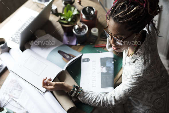 Businesswoman Sitting Working at Office - Stock Photo - Images