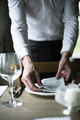 Restaurant Staff Setting Table in Restaurant for Reception - PhotoDune Item for Sale