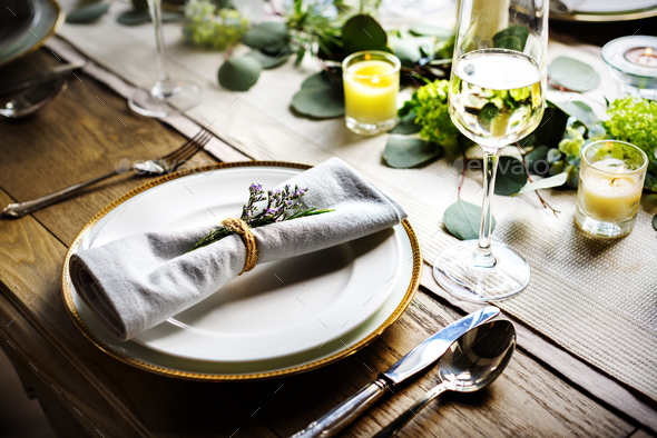 Exceptionnel Elegant Restaurant Table Setting Service For Reception   Stock Photo    Images