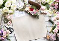 Various Fresh Flowers on Wooden Background Design Space - PhotoDune Item for Sale