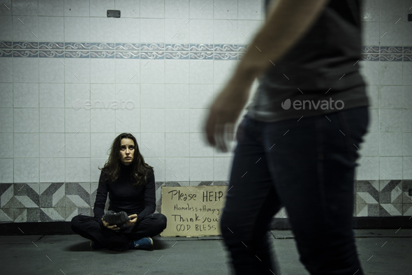 Homeless Beggar Woman Asking for Money Donation with Please Help - Stock Photo - Images