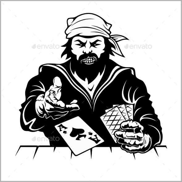 Pirate with Playing Cards - People Characters