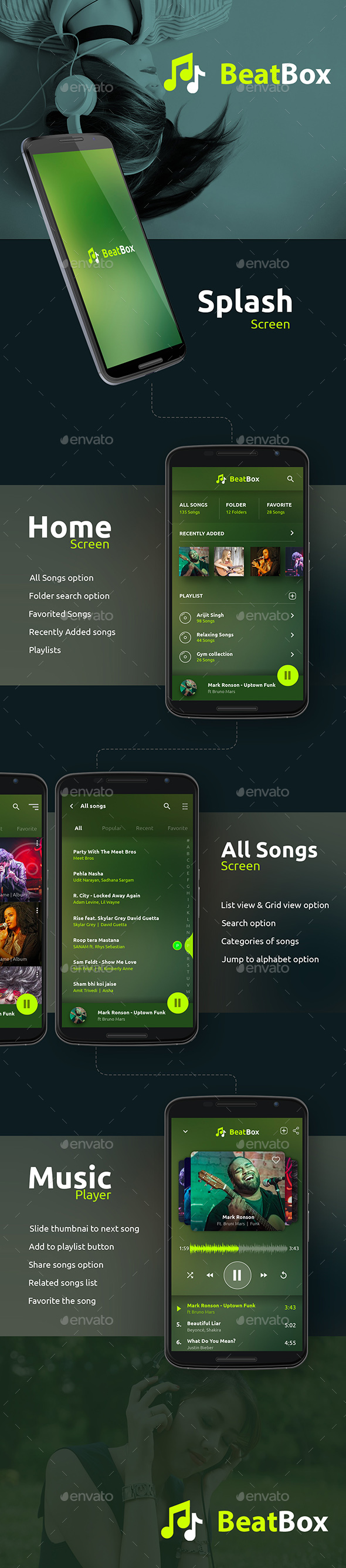 Music / Audio Android + iOS Player - User Interfaces Web Elements