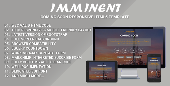 Imminent – Coming Soon Responsive HTML5 Template