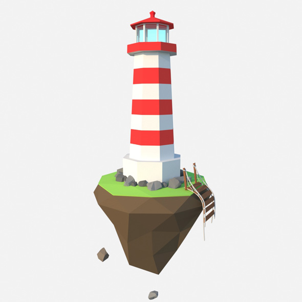 low poly lighthouse - 3DOcean Item for Sale