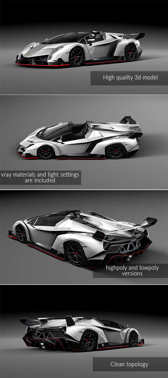 Lamborghini Veneno roadster - 3DOcean Item for Sale